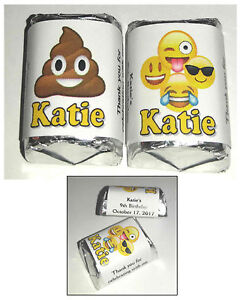 60 EMOJI BIRTHDAY PARTY FAVORS HERSHEY NUGGETS CANDY WRAPPERS
