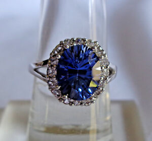 Vintage 10K White Gold Blue & White Sapphire Cocktail  Ring  sz 7  3.4 gm