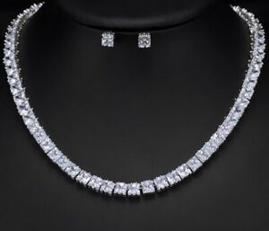 18k White Gold Tennis Necklace Earring Set made w Swarovski Crystal Square Stone