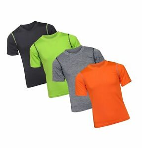 Black Bear Boy's Performance Dry-Fit T-Shirts (4 Pack) BlackGreenGreyOrange