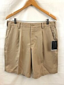 Nike Golf Mens Performance Athletic Shorts Size 34 Beige Brown Pleat Fit Dry New