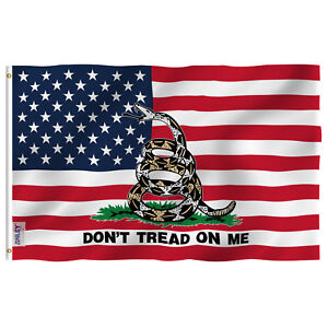 Anley Fly Breeze 3x5 Ft Gadsden American Flag- Don't Tread on Me Patrioti