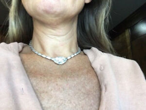 Custom 6.81 VS E-F Diamond Choker necklace--14K wg Riviera with Pendant