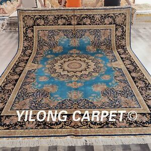 YILONG 9'x12' Handknotted Silk Persian Oversize Rug Durable Blue Carpet YWX006A