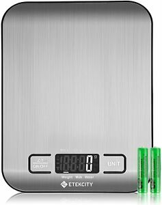Etekcity Upgraded Digital Food Kitchen Scale 11lb/5kg Stainless Steel 2 Battery