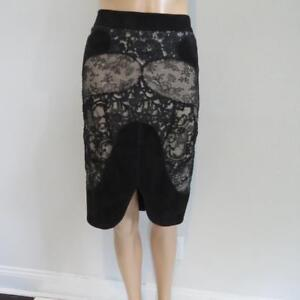 Tom Ford BlackNude SuedeLace Skirt Size 42 $6500