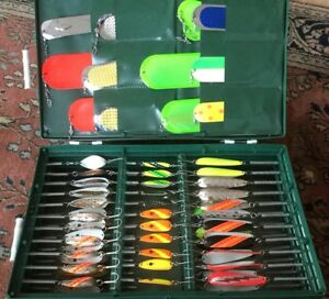 VINTAGE FISHING LURES! SPOONS HEIRLOOM HUGE COLLECTION LOOK INSIDE!