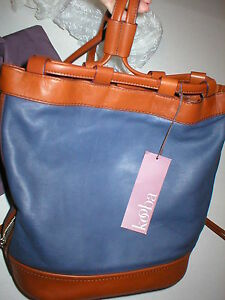 $428 Kooba Leather Bucket Handbag Bag Blue Brown New NWT Backpack Womens Sling