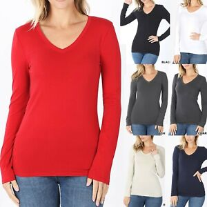 V Neck Basic Long Sleeve Womens T Shirt Casual Layering Top Tight Fitted Cotton $10.95