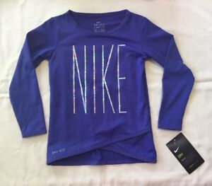 Nike Toddler Girls DRI FIT Long Sleeve Crossover Purple Shirt (Size 2T) NWT