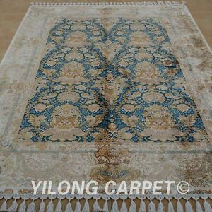YILONG 5.6'x8.1' Hand Knotted Silk Persian Rug Blue Durable Floral Carpet 1826