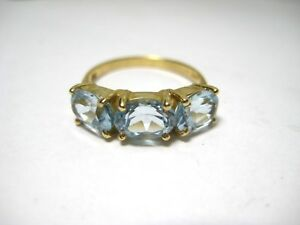Ladies Vintage Ring 14K Yellow Gold with Trio of Light Blue Topaz Size 5.75