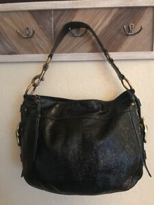 Coach Patent Leather Handbag Purse Shoulder Bag Black Large EUC