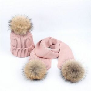 Winter Knitted Hats Scarf Set For Women Kid Three Fur Pompom Fashion Beanies