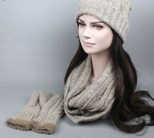 Winter Knitted Scarf Hat Glove Set For Women Man Wool Warm Plus Cashmere Beanies