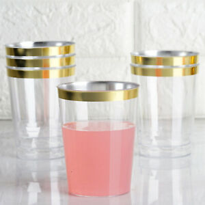 10 oz Disposable CLEAR with Gold Rim PLASTIC CUPS Wedding Party TABLEWARE SALE