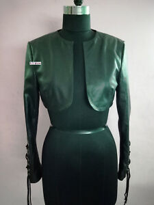 For Women & Girls 100% Genuine Lambskin Leather Crop Moto Bolero Shrug Jacket