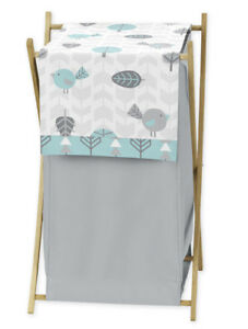 Kids Baby Clothes Laundry Hamper For Turquoise Blue Gray Earth Sky Bedding Set $21.99