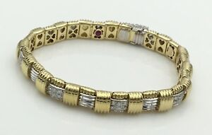 Designer Roberto Coin 18K Yellow & White Gold Diamond Bracelet Ladies Estate