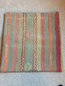 Turkish handwoven KILIM decorative pillow cover in dusty green coral red blue