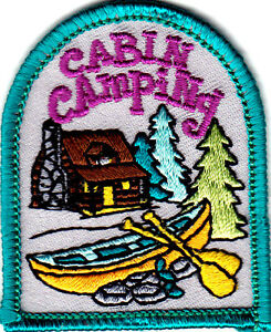 CABIN CAMPING Iron On Patch Scouts Cub Boy Girl Camper