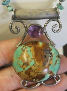 Navajo Sterling Silver Large Turquoise and Amethyst Necklace