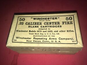 Vintage Winchester 1873 n 1892 rifles Blank 32 Cartridge Ammo Empty 2 Piece Box