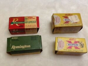 Lot of 4 Vintage Ammo Boxes-  22 RemingtonWinchester Kleanbore Western