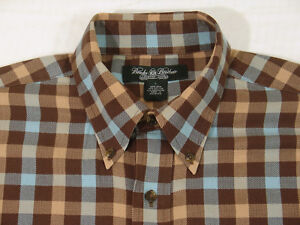 Brooks Brothers men Shirt L Country Club Plaid Check BD side gusset Sport $148