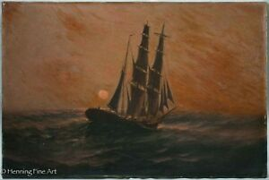 Very Early Antique Oil Painting of Ship at Sea During Sunset Possibly 18th cent