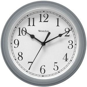 Westclox Round Gray Wall Clock 9quot; Arabic White Dial 46984A