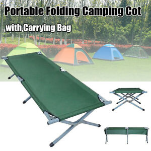 600D XL Outdoor Portable Military Folding Hiking Camping Cot Bed with Carry Bag