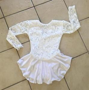 NEW Girls WHITE VELVET Ivory FLORAL Lace Competition FIGURE ICE SKATING Dress