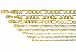 BRAND NEW 10k Yellow Gold 2mm 9.5mm Figaro Link Chain Necklace Bracelet 7 30