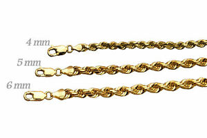 Solid 14k Yellow Gold 4-6mm Rope Chain Link Pendant Necklace Men Women 16