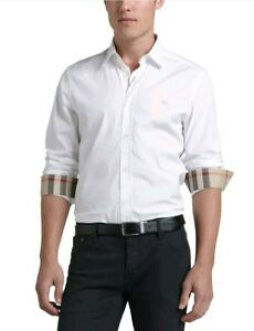 Burberry long sleeve shirt  White with  Check-Detail . Medium and Large only