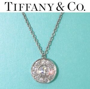 $2700 Tiffany & Co Circlet .26CT Diamond By The Yard Solitaire Pendant Necklace