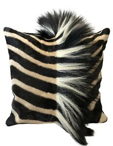 AFRICAN GENUINE Zebra HIDE SKIN CUSHION PILLOW 18quot; with MANE detail NEW #M1 $255.00