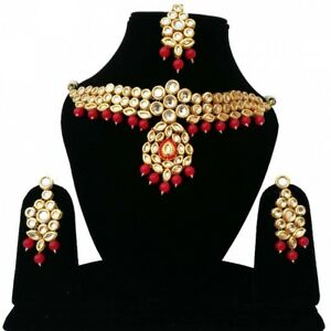 Kundan Meena Choker Gold Plated Designer Handmade Necklace Set Red