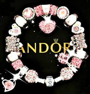 Authentic Pandora Bracelet Silver Pink Micro Pave Wife Mom European Charms New