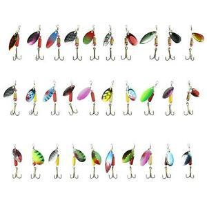 Lot 30 pcs Trout Spoon Metal Fishing Lures Spinner Baits Bass Tackle Colorful