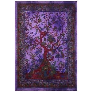 Purple Tree of life Twin Tapestry Hippie Indian Mandala Wall Hanging