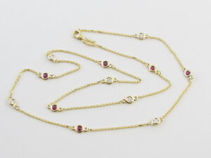 Diamond And Ruby  By The Yard Station Necklace 14k Yellow gold 18