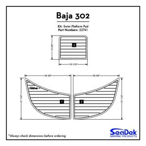 Baja 302 - SeaDek Swim Platform Traction Pads - Custom Teak Design  Colors