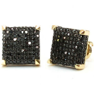 1.20Ct Round Black Diamond Cluster Square Stud Earrings 14K White Gold Finish