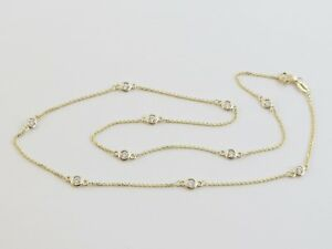 14k Yellow Gold By The Yard Station Diamond Necklace 18
