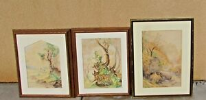 Trio of Vintage Polish Landscapes two watercolors and one pastel all framed