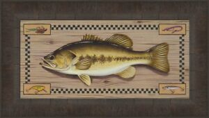 BASS by Greg Bordignon 11x18 FRAMED PRINT PICTURE Largemouth Fish Fishing Lures