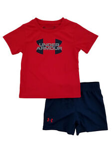 Under Armour Infant Boys 2-Piece Red & Navy T-Shirt & Shorts Set