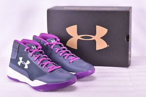 Youth Girl's Under Armour GGS Jet 2017 Basketball Shoes Apollo GreyPurple